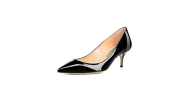 15d838abb4b16 MODEMOVEN Women's Black Patent Leather Pointed Toe Kitten Heels Gorgeous  Pumps Evening Stiletto Shoes 5.5CM - 11.5 M US