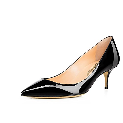 Modemoven Women's Black Patent Leather Pointed Toe Kitten Heels Gorgeous Pumps Evening Stiletto Shoes 5.5CM - 7 M US (Pumps Leather Patent Toe)