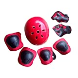 YAKOK Kids Helmet Set, 7pcs Kids Helmet Safety with Protective Gear Set for Bike Scooter Skateboard Skate for Child Boys and Girls, 6-11 Years Old (Red)