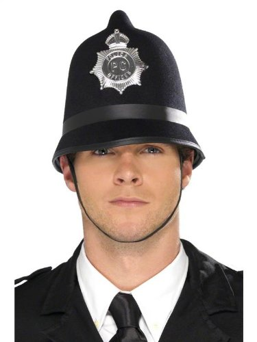 [Mens Adult British Bobby English Policeman Police Officer Helmet Hat Fancy Dress by Star55] (British Police Hat Costume)