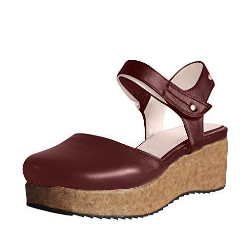 PAQOZ Women's Flats Sandals, Fashion Retro Flats Wedges Round Toe Thick Bottom Non-Slip Roman Shoes(Red,38)