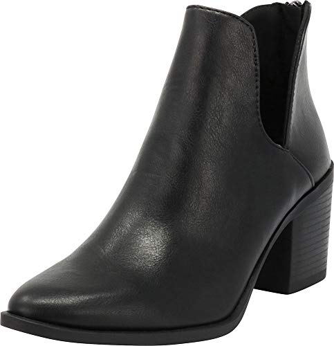 Cambridge Select Women's Closed Pointed Toe Western Side V Cutout Chunky Block Heel Ankle Bootie,7.5 B(M) US,Black PU