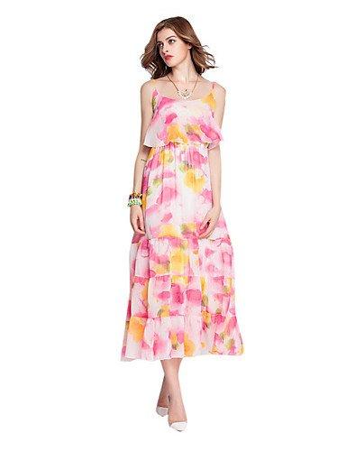 PU&PU Robe Aux femmes Gaine Street Chic,Fleur A Bretelles Maxi Polyester , white-xl , white-xl