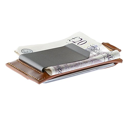 Oak and Steel Genuine Leather Security RFID blocking wallet with removable money clip - Light Brown