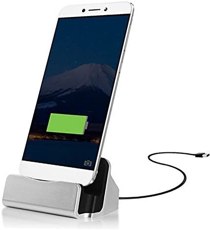 ONX3 Silver Desktop Charger Micro USB Base Stand Data Sync Charging Docking Station Compatible With Samsung Galaxy A7 2018
