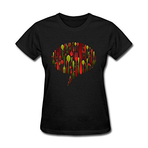 Susueky Women's Christmas Colors Cutlery Icon Short Sleeve T shirt L