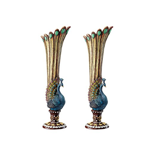 Design Toscano Peacock Bud Vase: Set of Two