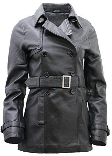 Coat Ladies 3/4 Leather - Women's 3/4 Black Ladies Lamb Nappa Leather Trench CoatS