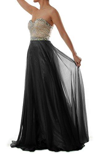 MACloth Women Strapless Chiffon Long Prom Dress Wedding Party Formal Gown Negro