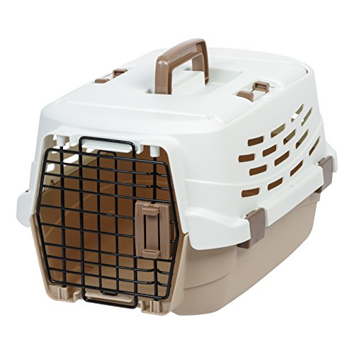 IRIS USA, Inc. UPC-490 Easy Access Pet Travel Carrier, Small, Off-White/Brown