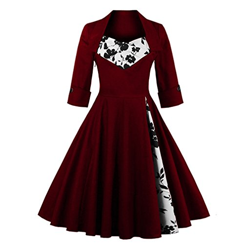 Women's Long Sleeves 50s Vintage Plus Size Swing Cocktail Dress (2XL, Wine Red Floral)