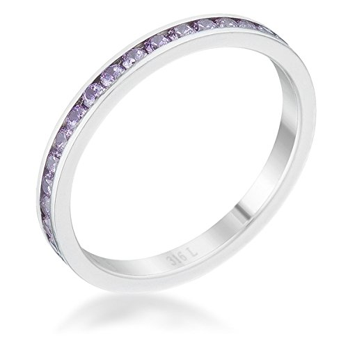 Lavender Cubic Zirconia Band - Diamond2Deal Teresa 0.5ct Lavender Cubic Zirconia Stainless Steel Eternity Band
