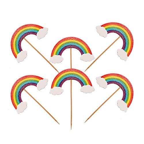 - JETEHO 30 Pcs Cute Glitter Colorful Rainbow Cupcake Topper Rainbow Dessert Cake Cupcake Topper Picks for Christmas Tropical Hawaii Summer Baby Shower Wedding Party Decorations