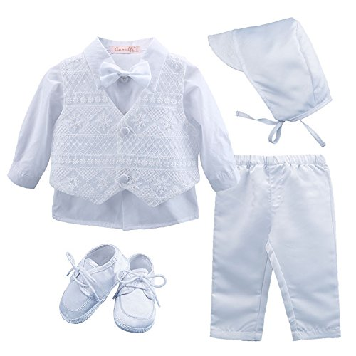 Booulfi Baby Boy's 5 Pcs Set Christening Baptism Outfits, 12-18 Months, Cream ()
