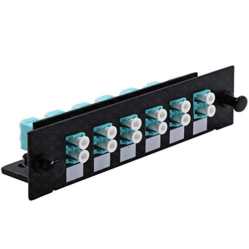 LC Fiber Adapter for Fiber Patch Panel, Loaded w/6 LC UPC Duplex OM3/OM4 Multimode Aqua - LGX Footprint ()
