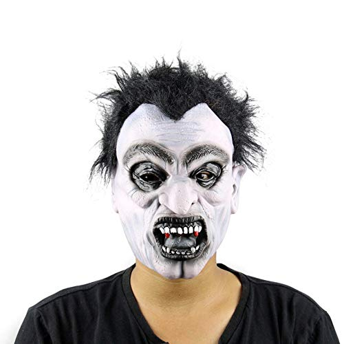 AILIUJUNBING Halloween Mask Scary Latex Full Face Mask Big Mouth Red Hair Nose Cosplay Horror Masquerade Adult Ghost Party for Props]()