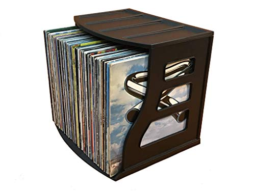 Vinyl Record Storage Crate, LP Album Holder, Holds Over 70 Records, Lever Arch Shelf, Office Desktop Organizer, Ring Binder Stand, Craft & Scrapbook Paper Rack Cube Box, Stackable, Binder Way Brand