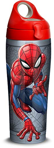 Tervis 1319386 Marvel Man Spider Web Stainless Steel Insulated Tumbler with Lid, 24 oz, Silver
