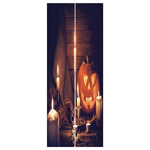3d Door Wall Mural Wallpaper Stickers [ Halloween,Rustic Home Wooden Planks Burning Candles Pumpkin Sackcloth Harvesting Holiday Decorative,Orange Brown ] Mural Door Wall Stickers Wallpaper Mural DIY ()