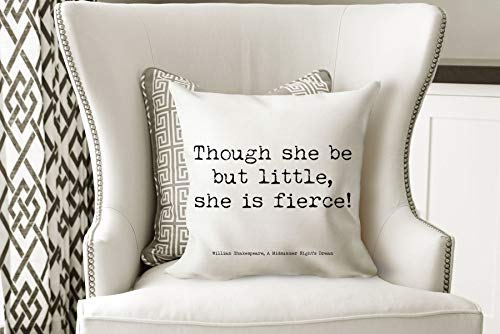 Shakespeare Quote Decorative Cushion Little But Fierce Quote Pillow Book Quote Pillow Midsummer Nights Dream