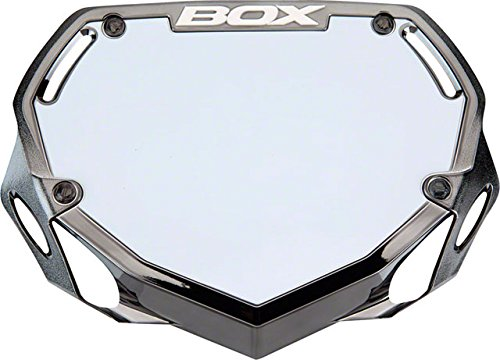 BOX Components Phase 1 Number Plate Small Black Chrome (Bmx Number Plate)