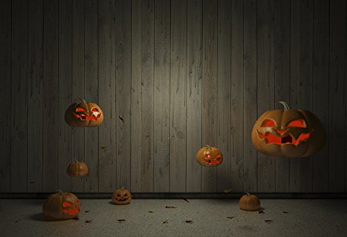 Laeacco Halloween Carved Pumpkin Backdrops 10x6.5ft Smilling Jack O Lantern with Wooden Board Backgroud Thanksgiving Holiday Farm Harvest Festival Kid Child Babay Cosplay Artistic Studio Props