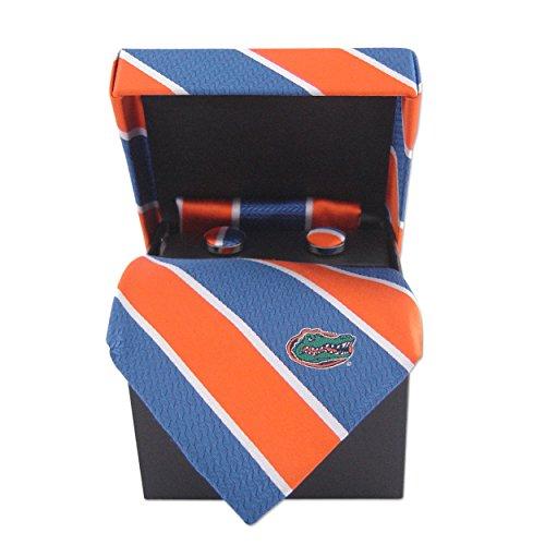[NCAA Florida Gators Mens Woven Silk Repp Stripe Collegiate Logo Neckwear Box Set 1, Royal and Orange, One Size] (Florida Gators Team Logo Cufflinks)