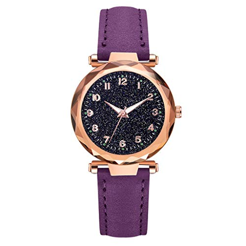 (LUCAMORE Womens Luxury Analog Luminous Watches Quartz Wristwatch Starry Sky Dial With Leather Strap Casual Watch Jewelry Gift)