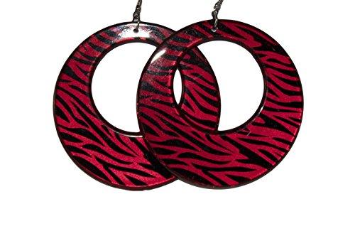 Red Circular Earring - Circular Plastic Animal Zebra Print Colored Earrings (Red)