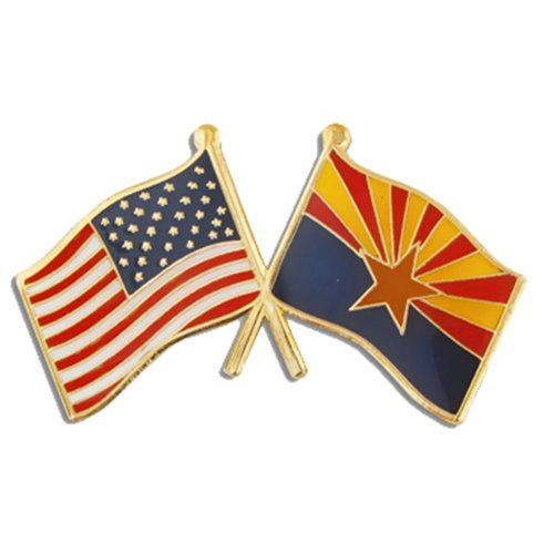 PinMart Arizona and USA Crossed Friendship Flag Enamel Lapel Pin