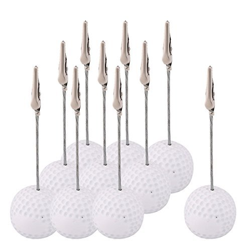 DealMux Resin Office Golf Ball Shaped Tabletop Decoration Note Paper Memo Clip 10 Pcs (Ball Memo Holder)