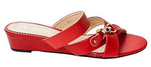 Mules DM511 Chaussure Grande Taille Sabot Rouge Compensé Sandales Croisées 1 Femme Rapidoshop Brides Talon RBpUx