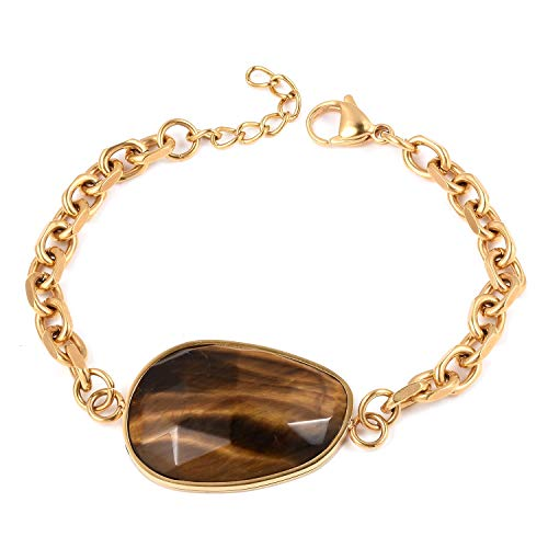 Shop LC Delivering Joy Stainless Steel Tigers Eye ION Plated Yellow Gold Bracelet for Women Gift Jewelry 7.5