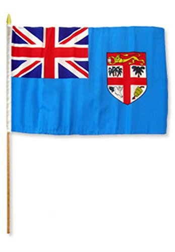 ALBATROS 12 inch x 18 inch (Pack of 3) Fiji Stick Flag with Wood Staff for Home and Parades, Official Party, All Weather Indoors Outdoors