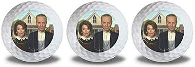 Schumer Pelosi 3 Golf Ball Pack Chuck Nancy American Gothic Design