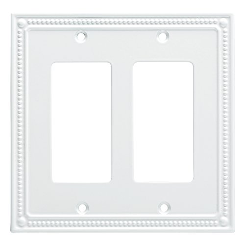 Franklin Brass W35065-PW-C Classic Beaded Double Decorator Wall Plate/Switch Plate/Cover, White