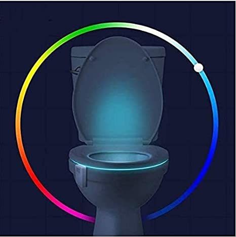 16-Color Toilet Night Light - Motion Activated Detection Bathroom Bowl Lights - Funny Birthday Gifts Idea for Dad, Mom, Men, Women & Kids - Christmas Stocking Stuffers - Cool Gadget
