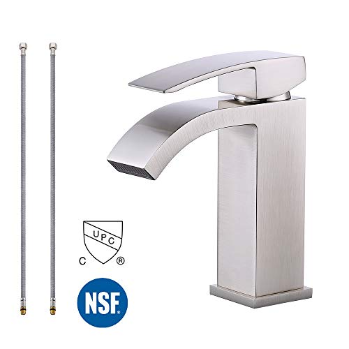 (KES Bathroom Faucet Single Handle One Hole Vanity Sink Faucet cUPC NSF Certified Lead Free Brass Construction, Brushed Nickel L3109ALF-BN)