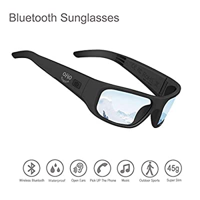 Waterproof Bluetooth Sunglasses,Open Ear Wireless Sunglasses with Polarized UV400 Protection Safety Lenses,Unisex Design Headset for All Smart Phones