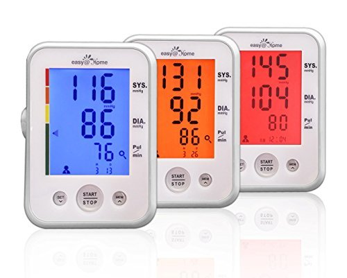 (Large Cuff) Easy@Home Digital Upper Arm Blood Pressure Monitor (BP Monitor) with 3-Color Hypertension Backlit display and Pulse Meter-FDA approved for OTC, IHB Indicator, 2 User Mode, 2 Year Warranty
