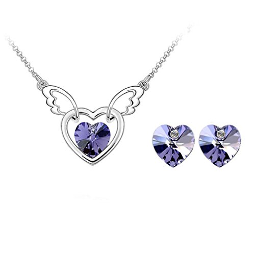 (Gift for Girls Angle Wing with Heart Swarovski Elements Crystal Pendant Necklace Stud Earrings Set Fashion Jewelry for Women (Purple))