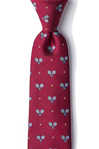 Men's 100% Silk Crossed Tennis Racquets & Balls Sports Necktie Tie (Burgundy)