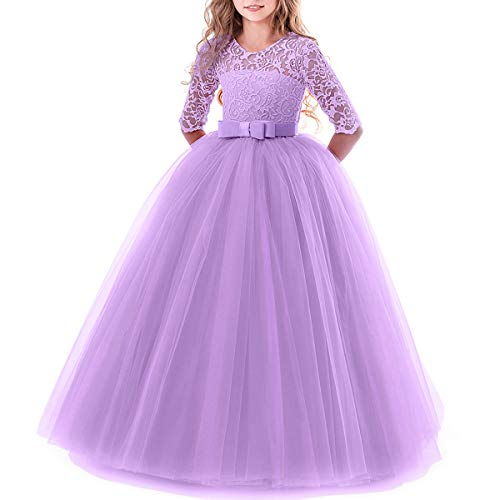 Toddler Girl's Embroidery Tulle Lace Maxi Flower Girl Wedding Bridesmaid Dress 3/4 Sleeve Long A Line Pageant Formal Prom Dance Evening Gowns Casual Holiday Party Dress Light Purple 7-8