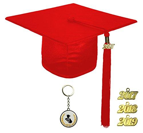 [해외]FIT4GRAD 반짝이 디럭스 졸업 캡 술 현 세트 2017 2018 2019, 빨간색/FIT4GRAD Shiny Deluxe Graduation Cap Tassel Signet Set 2017 2018 2019, red