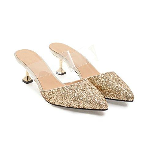 Mei&S La Mujer Toe Sandalias de Tacón Puntiagudo Golden