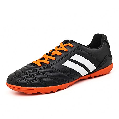 YING LAN Men's Boys Turf Cleats Soccer Athletic Football Outdoor/Indoor Sports Shoes TF Black (Indoor Soccer Turf)