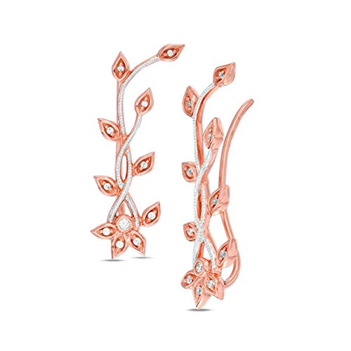 1/6 cttw Diamond Leaf Style Vine Crawler Climber Cuff Earrings in 10K Rose Gold ()