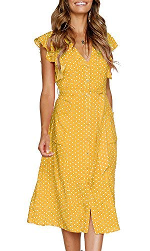 (MITILLY Women's Summer Boho Polka Dot Sleeveless V Neck Swing Midi Dress with Pockets Small Yellow)