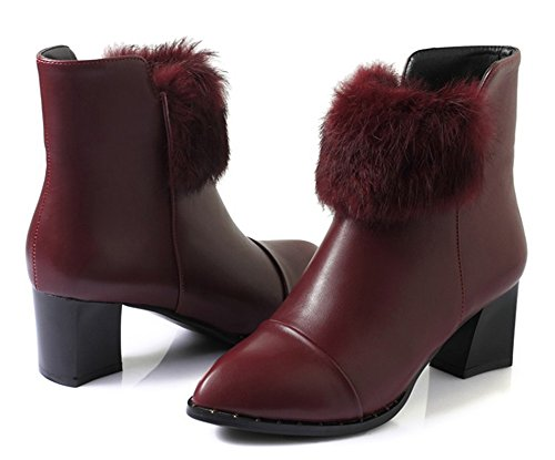 Moda Para Mujer De La Manera Puntiaguda Con Cremalleras Laterales Apiladas Vestido De Tacones Medianos Apilados Botines Zapatos Rojos