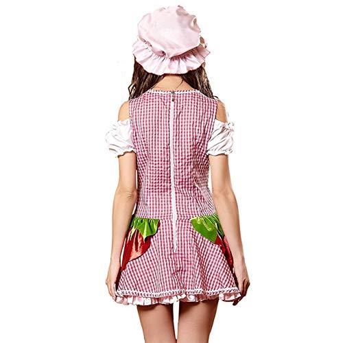 Della Reticolo Red Manicotto Cotone Cosplay Vestito Uniforme Corta contiene Cerniera Gonna Sbuffo Petto Cappello Costume Basso Donne Sexy Domestica Bello 84qxwg5H
